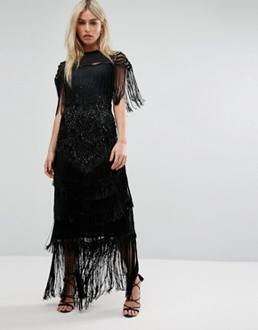 photo Cape Detail Maxi Dress in All Over Embellishment by A Star Is Born, color Black - Image 1