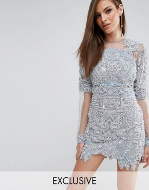 photo All Over Embellished Mini Dress with Mesh Sleeves by A Star Is Born, color Slate Blue - Image 1
