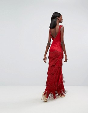 photo Fringe Embellished Maxi Dress with Strap Detail by A Star Is Born, color Red - Image 2
