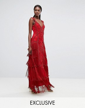 photo Fringe Embellished Maxi Dress with Strap Detail by A Star Is Born, color Red - Image 1