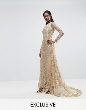photo Maxi Dress with Panelled Embroidered Embellishment by A Star Is Born, color Gold - Image 1
