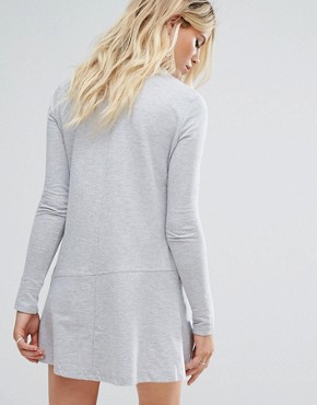 photo Sweatshirt Dress with Fluted Hem by Daisy Street, color Grey - Image 2