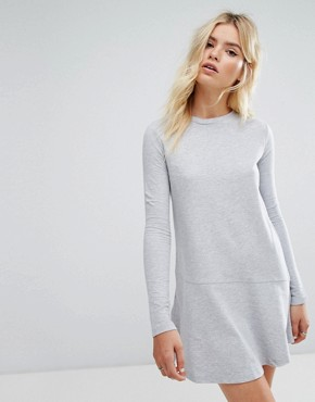 photo Sweatshirt Dress with Fluted Hem by Daisy Street, color Grey - Image 1