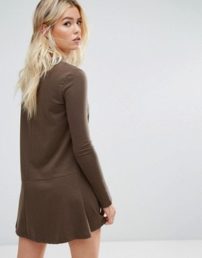 photo Sweatshirt Dress with Fluted Hem by Daisy Street, color Brown - Image 2