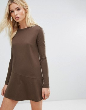 photo Sweatshirt Dress with Fluted Hem by Daisy Street, color Brown - Image 1