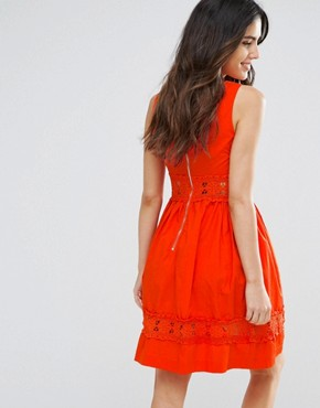 photo Larkspur Dress with Crochet Trim by Louche, color Red - Image 2