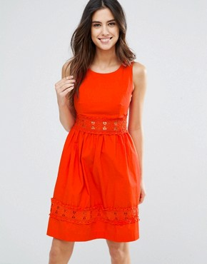 photo Larkspur Dress with Crochet Trim by Louche, color Red - Image 1