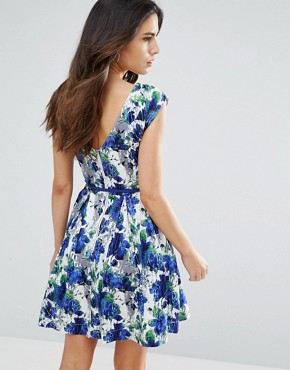 photo Julita Belted Skater Dress by Louche, color Blue/White - Image 2