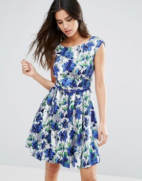 photo Julita Belted Skater Dress by Louche, color Blue/White - Image 1