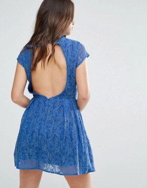 photo Nichole Lace Dress with Embellished Neckline by Louche, color Blue - Image 2