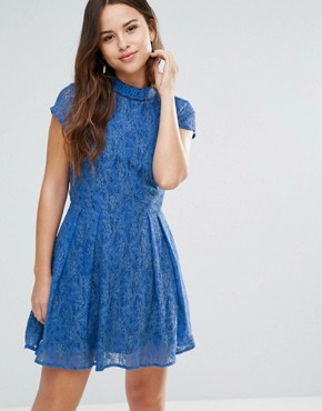 photo Nichole Lace Dress with Embellished Neckline by Louche, color Blue - Image 1