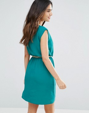 photo Shari Belted Pleat Front Dress by Louche, color Teal - Image 2