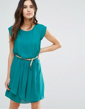 photo Shari Belted Pleat Front Dress by Louche, color Teal - Image 1