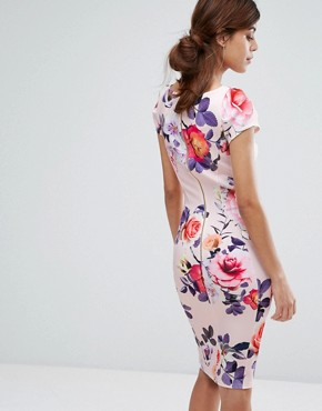 photo Pencil Dress with Ruched Cap Sleeve in Occasion Print by Closet London, color Multi - Image 2