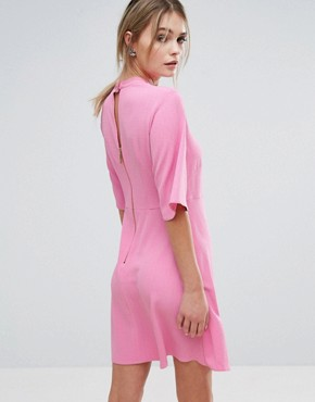 photo Swing Dress with High Neck by Closet London, color Candy Pink - Image 2