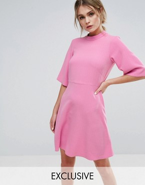 photo Swing Dress with High Neck by Closet London, color Candy Pink - Image 1