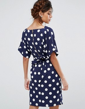 photo Kimono Sleeve Midi Dress with Tie Back Detail and Split Front by Closet London, color Navy Polka - Image 2