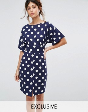 photo Kimono Sleeve Midi Dress with Tie Back Detail and Split Front by Closet London, color Navy Polka - Image 1