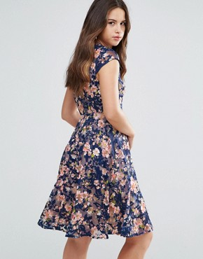 photo Jerrica Embroidred Midi Dress by Louche, color Navy/Coral - Image 2