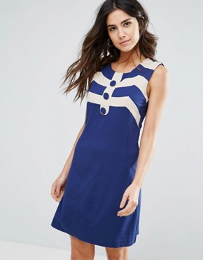 photo Mary A-Line Dress by Louche, color Navy/White - Image 1
