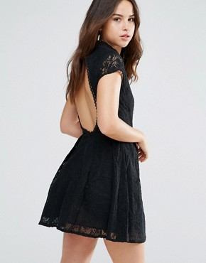photo Nichole High Neck Lace Dress by Louche, color Black - Image 2