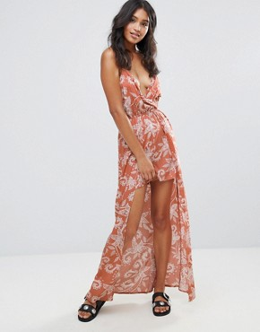 photo Paisley Maxi Dress by Parisian, color Rust - Image 1