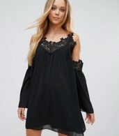 photo Cold Shoulder Smock Dress with Crochet Detail by Parisian, color Black - Image 1