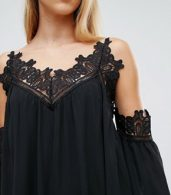 photo Cold Shoulder Smock Dress with Crochet Detail by Parisian, color Black - Image 3