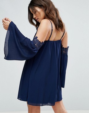 photo Cold Shoulder Smock Dress with Crochet Detail by Parisian, color Navy - Image 2