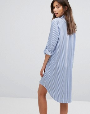 photo Floral Embroidered Shirt Dress by Parisian, color Blue - Image 2