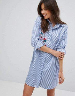 photo Floral Embroidered Shirt Dress by Parisian, color Blue - Image 1