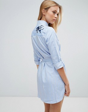photo Floral Embroidered Shirt Dress with Tie Waist by Parisian, color White Blue - Image 2