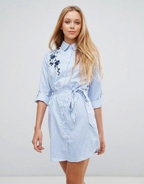 photo Floral Embroidered Shirt Dress with Tie Waist by Parisian, color White Blue - Image 1