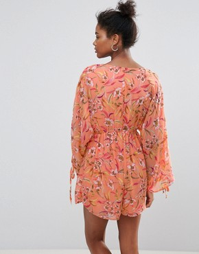 photo Floral Print Dress with Short Underlay by Crescent, color Salmon - Image 2
