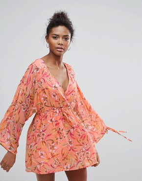 photo Floral Print Dress with Short Underlay by Crescent, color Salmon - Image 1