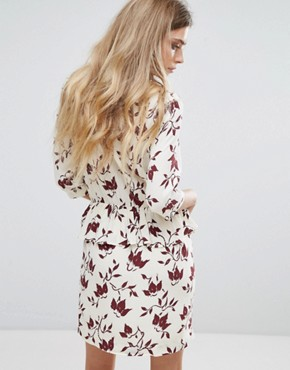 photo Maxwell Crepe Print Dress by Ganni, color Cabernet Bell Flower - Image 2