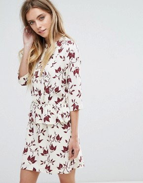 photo Maxwell Crepe Print Dress by Ganni, color Cabernet Bell Flower - Image 1