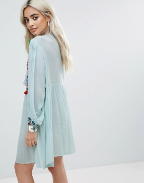 photo Smock Dress with Mirror Embroidery and Pom Pom Trim by Glamorous Petite, color Blue - Image 2