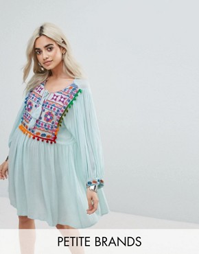 photo Smock Dress with Mirror Embroidery and Pom Pom Trim by Glamorous Petite, color Blue - Image 1