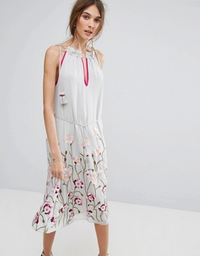 photo Embroidered Trapeze Dress by Miss Selfridge, color Grey - Image 1
