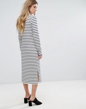 photo Old Spice Striped Classic Shift Dress by Ganni, color Nature/Blue Stripe - Image 2