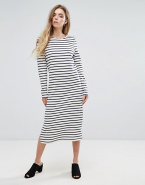 photo Old Spice Striped Classic Shift Dress by Ganni, color Nature/Blue Stripe - Image 1