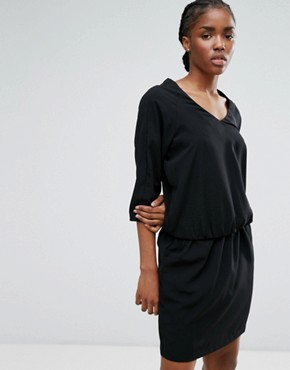 photo Waist Tie Dress by b.Young, color Black - Image 1