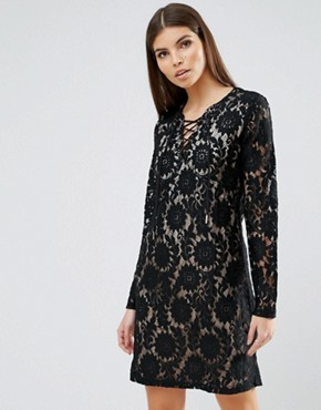 photo Lace Mini Dress by b.Young, color Black - Image 1