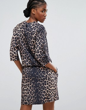 photo Waist Tie Leopard Dress by b.Young, color Camel - Image 2