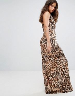 photo Leopard Print Maxi Dress by PrettyLittleThing, color Brown - Image 2