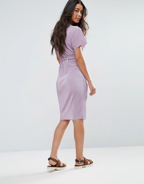 photo Belted Plisse Midi Dress by New Look Maternity, color Lilac - Image 2