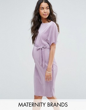 photo Belted Plisse Midi Dress by New Look Maternity, color Lilac - Image 1