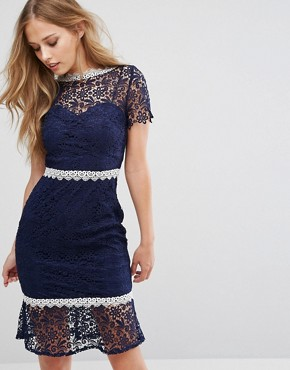 photo Midi Lace Dress with Contrast Lace Trim by Paper Dolls, color Navy - Image 1