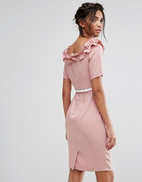 photo Bardot Midi Dress with Belt and Ruffle Detail by Paper Dolls, color Rose - Image 2